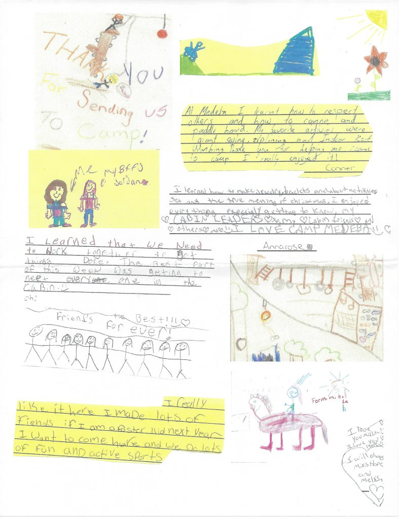 A collection of drawings and letters created by children to thank the donors at the KHCF