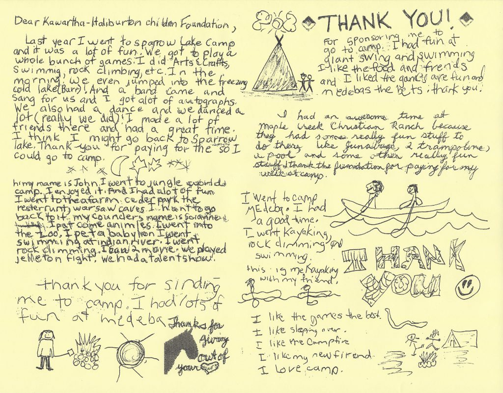 A thank you letter to the donors at the KHCF for sending a child to camp