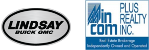 The logos for both Lindsay Buick GMC and Min Com Plus Realty INC.