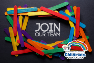 A circle of popsicle sticks in various colours surrounding the words JOIN OUR TEAM. The KHCF logo is in the bottom right corner.