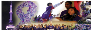 photo collage of people dressed in purple and supporting Dress Purple Day
