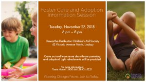 Picture of a children and details of the Foster Care and Adoption Information Session