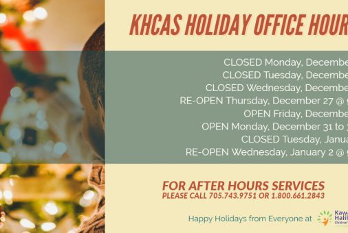 Holiday graphic that depicts the office hours of the Peterborough, Lindsay and Haliburton offices