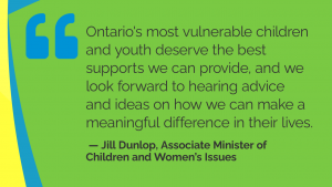 quote from jill dunlop, associate minister of Children and Women's Issues